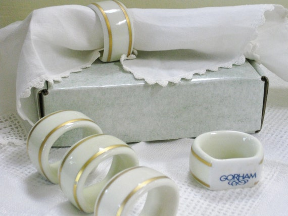 Vintage Gorham Napkin Rings Ivory Porcelain With Gold Band