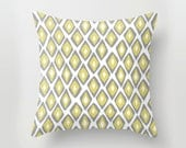 Gray and Yellow Ikat Geometric POPULAR FABRIC Throw Pillow Cover Case 16X16 or 18x18 Or 20x20 Hidden Zipper