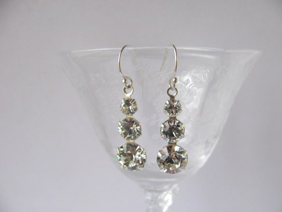 Prom Bridal Long Decreased Swarovski Triple Crystal Sterling Earrings FREE SHIPPING