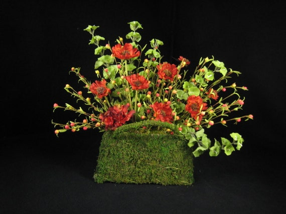 ON SALE   Bright Red Poppies in Moss Purse Floral Arrangement Permanent Botanical