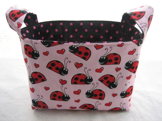 Reversible Organizer Fabric Laby Bugs Hearts Bin Basket Storage