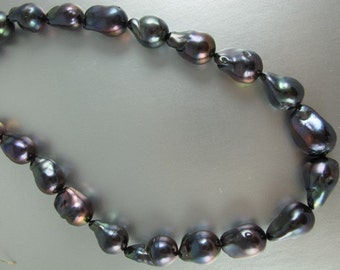 Baroque Pearl, Luxe Jumbo Pearl, Dark Peacock, Thick Nacre, approx 14-17x22-30mm, One Piece, (P037)