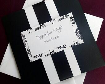 Damask weding invitation, Damask pocket fold invitation, Black and White Invitation, Elegant invitation, flourish invitation