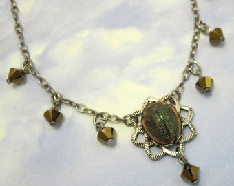 Rare Vintage Glass Scarab Pendant Necklace Green Swarovski Crystal Drops with Antique Silver Filagree and Chain