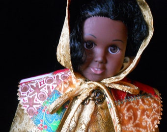 Winter Coat Holiday American Girl  Doll Felicity Elizabeth and many other  18in Dolls  made in  Gold Brocade an Satin Cape