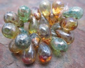 Teal Amber Picasso Splash 9x6mm Tear Drops