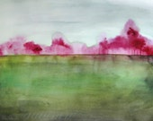 Watercolor Painting - Trees in Art - Landscape Painting Print - Grace - 8x10 Giclee Print - Country Field Magenta Green Blue