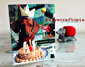 Birthday Cake Dachshund Birthday Card