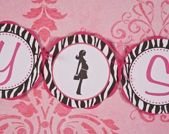 BABY SHOWER Decoration, Hot Pink and Zebra Baby Shower Banner - Hot Pink & Black Party Sign - Mom Silhouette
