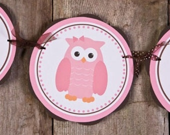 Owl Themed ITS A GIRL Baby Shower Banner, Owl Baby Shower Decorations Pink and Brown