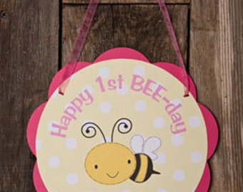 Bee Themed Happy Birthday Party Sign Door Hanger in Hot Pink & Yellow - Happy Bee Day Party Decorations