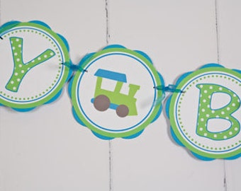 Train Themed Party HAPPY BIRTHDAY Banner - Train Birthday Party Decorations in Aqua Blue and Green