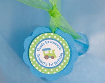 Train Theme Favor Tags - Train Birthday Party Decorations - Gift Tags, Hang Tags, Thank You Tags in  in Blue & Green