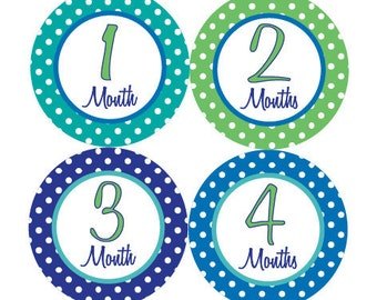 Baby Month Stickers - Boy Monthly Stickers Navy Blue Green Polkadot First Year Month Stickers Baby Shower Gift - Taylor-T