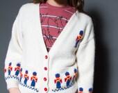 Vintage Cardigan-Hand knitted Drummer Boy Cardigan
