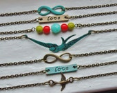 Turquoise Infinity Bracelet. Verdigris. Love Bracelet. Stacking Bracelets. Layering Bracelets. Bestfriend Bracelet.. Valentine. Bridesmaid