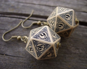 D20 steampunk dice earrings dice jewelry dnd dungeons and dragons toothed bar