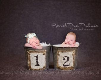 Newborn Baby Child Photography Prop Digital Backdrop for Photographers Twins Galvanized Buckets