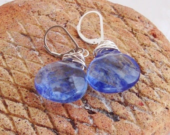 Wire Wrapped Blue Sapphire Quartz Briolette Sterling Silver Earrings