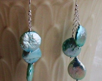 Three Length Dangle Blue Keshi Coin Pearl Wire Wrapped Sterling Silver Earrings