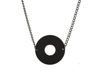 Matte Black Circle Necklace