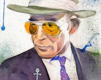 ART print from original watercolor- Hunter Thompson- Art custom portrait painting, Gonzo, watercolor art