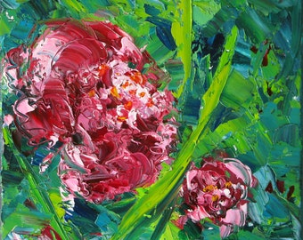 Abstract Peonies an original 10 x 10 x 3/4 inch (25 x 25 cm) oil painting on canvas by Yvonne Wagner.  Peony painting. Flowers.