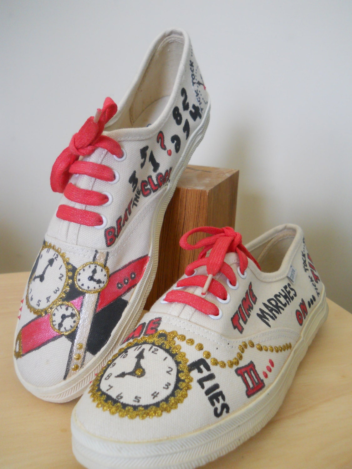 1980s painted canvas tennis shoes sz 7 5 by sugarbank