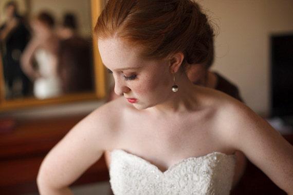 Rustic Wedding Pearl Acorn Earrings Bridal Pearl Earrings Fall Wedding Cream Pearl Jewelry Drop Earrings - Princess Acorn