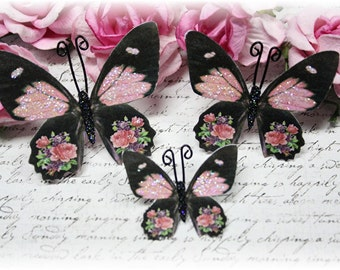 Fluttering Pink Rose Butterfly Embellishments for Scrapbooking or Cardmaking, Tag Art,  Mixed Media, Mini Albums