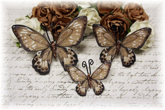 Decadence Butterfly Embellishments for Scrapbooking, Cardmaking, Tag Art, Mixed Media, Wedding