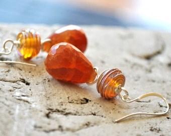 Orange Teardrop Earrings - Glass and Quartz Dangle Earrings