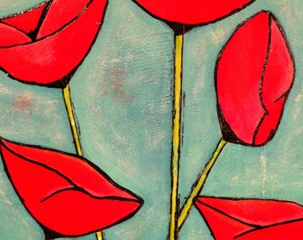 "Original Mixed Media on Wood Panel - Painting Home Decor Artwork - Folk Art - ""Poppies"""