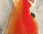Pair Vintage Sheer Nylon Scarf Scarves Orange Red