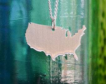 USA Pendant on 18inch Sterling Silver Chain