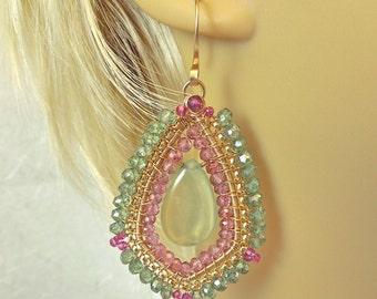 Green prehnite, pink quartz, green quartz