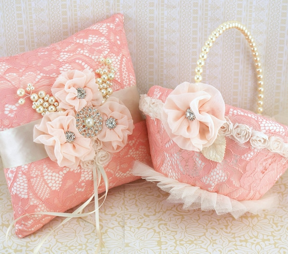 Bridal Ring Bearer Pillow and Flower Girl Basket Set in Coral, Peach and Ivory with Lace, Chiffon, Jewels and Pearls - Vintage Inspired