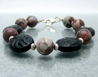 Sterling Silver Jasper Bracelet - Black Red Gray - Beaded Bracelet - Gemstone Bracelet - 7.25 Inches