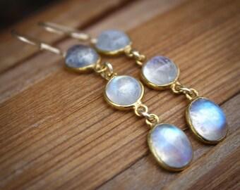 Gold Rainbow Moonstone Dangle Earrings - Gemstone Earrings - June Birthstone
