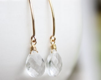 Gold Crystal Quartz Gemstone Earrings - Wire Wrapped - 14KT Gold Fill