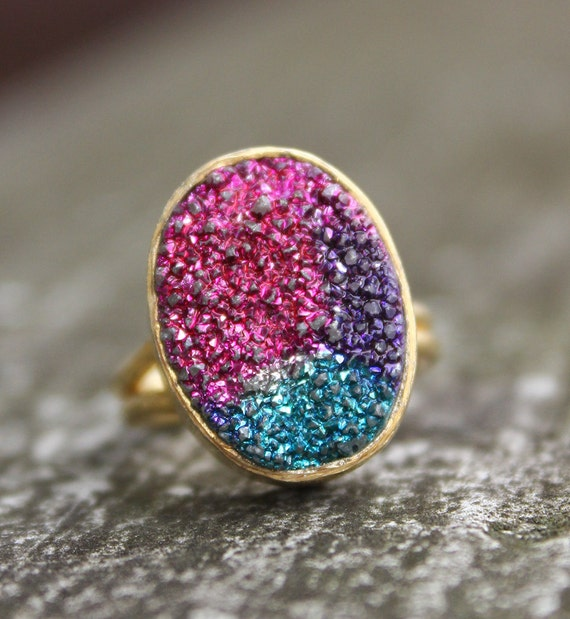 gold titanium druzy gemstone ring pink turquoise by ohkuol