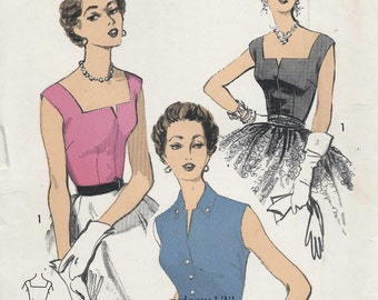 Vintage 1953 Square Neck or Button Front Sleeveless Blouse..Sew Easy...Advance 6710 Bust 30