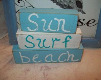 Sun Surf Beach Shelf Sitter Signs Beach Decor Beach Bathroom Decor Shabby Chic