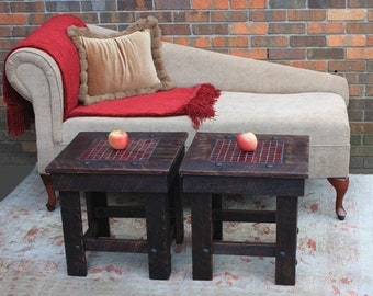 "Side Table / Bunching Table with Mosaic Tile Centerpiece, ""Organic Red"", Reclaimed Wood, Dark Brown Finish - Handmade"