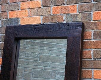 Framed Floor Mirror, Reclaimed Wood, Chunky Frame, Java Finish, 26 x 70 - Handmade