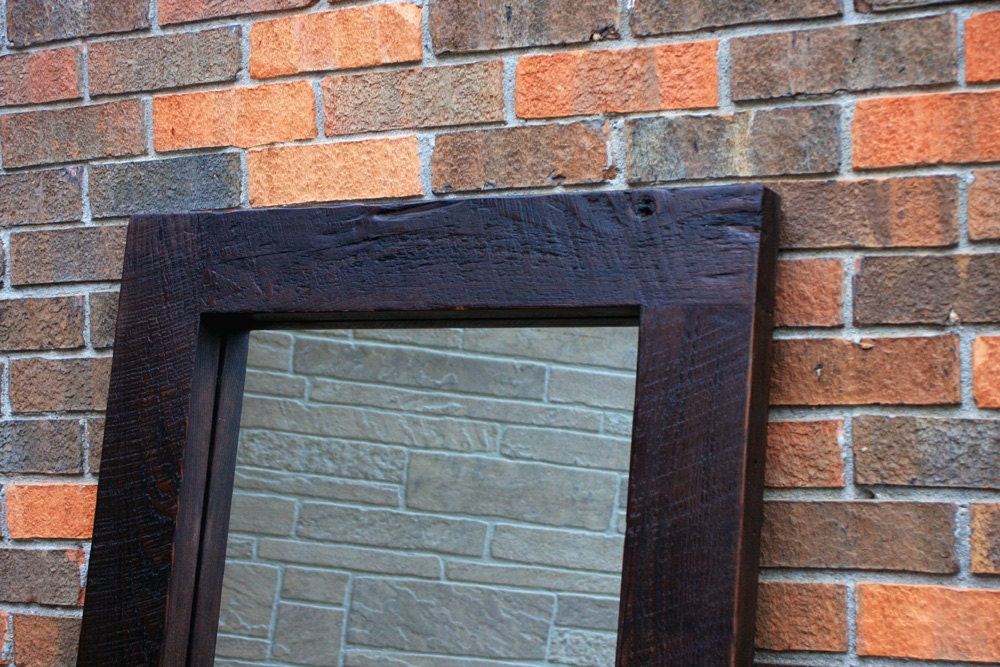 Framed floor mirror thick wooden frame mirror chunky framed for Black framed floor mirror