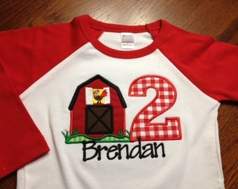Barnyard Birthday Boy Shirt - Farm Birthday Shirt - long sleeve raglan shirt