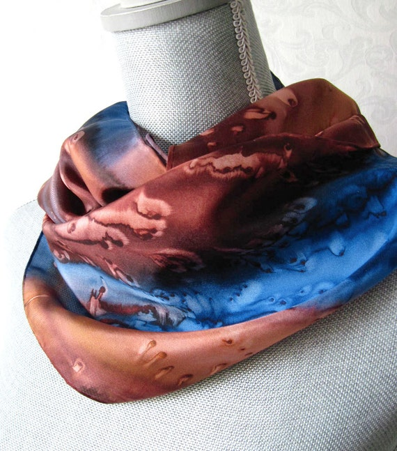 Silk Scarf Hand Painted in Brown, Copper and Blue