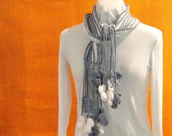 Striped Crochet Scarf Pattern, Quick to Crochet Scarf Pattern With Flower Fringe, Cotton Yarn Design, Crocheted Flowers Pattern