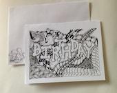 Birthday card  Zentangle